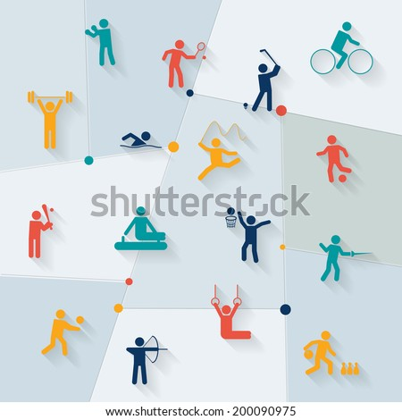 Athletics golf and rhythmic gymnastics sportive tournament elements symbols distinctive pictograms collection set vector illustration - stock vector