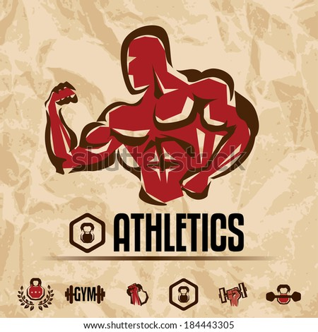 athletics, gym labels collection, vintage fitness emblems  - stock vector