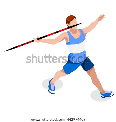 Athletics Javelin Sportsman Games Icon Set. 3D Isometric Athlete. Sporting Championship International Athletics Competition. Sport Infographic Athletics High Jump olympics Vector Illustration