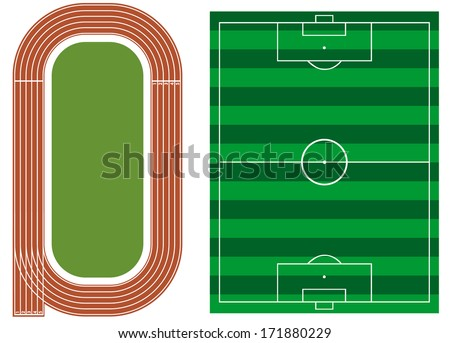 Athletics track with soccer field - stock vector