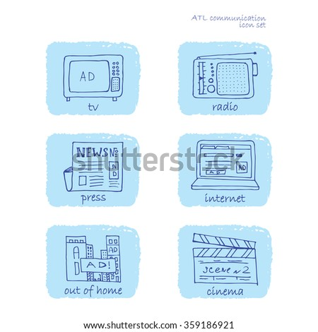 ATL Communication in advertisement hand made icon set. Rectangular rough edge blue background and ultramarine pencil drawn stroke symbols set. - stock vector