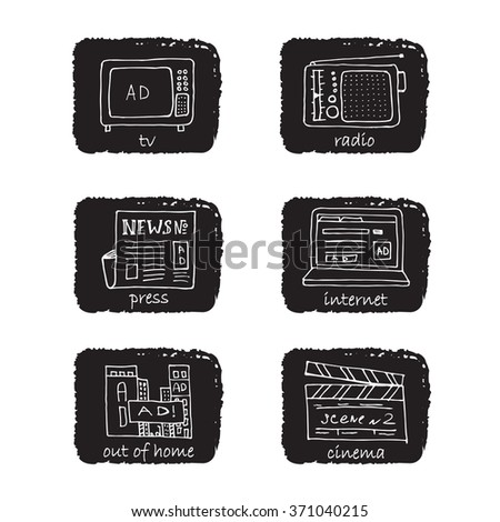 ATL Communication in advertising hand made icon set. Monochrome, white negligent stroke symbols on rectangular black background.  - stock vector