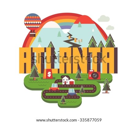 Atlanta city logo in colorful vector - stock vector