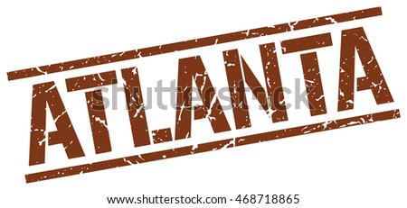 Atlanta stamp. brown square Atlanta grunge stamp on white background. Atlanta