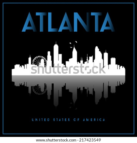 Atlanta, USA skyline silhouette vector design on black background. - stock vector