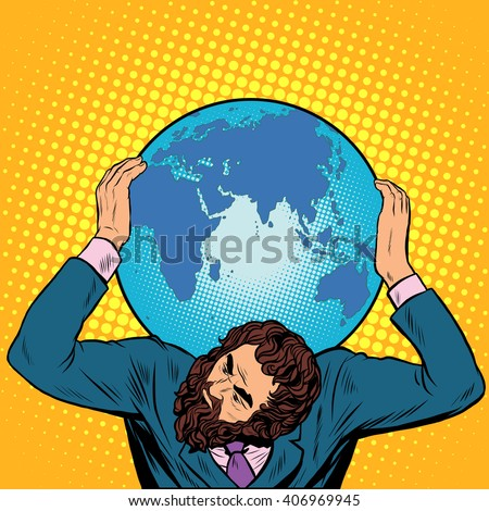 Atlas businessman holds the Earth on his shoulders