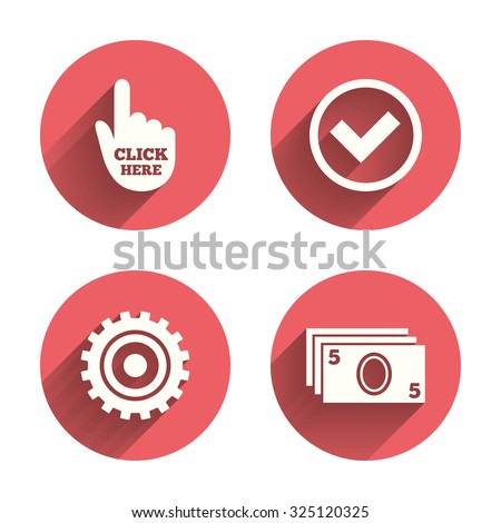 ATM cash machine withdrawal icons. Click here, check PIN number, processing and cash withdrawal symbols. Pink circles flat buttons with shadow. Vector - stock vector