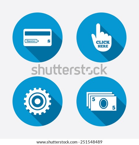 ATM cash machine withdrawal icons. Insert bank card, click here and check PIN, processing and get cash symbols. Circle concept web buttons. Vector - stock vector