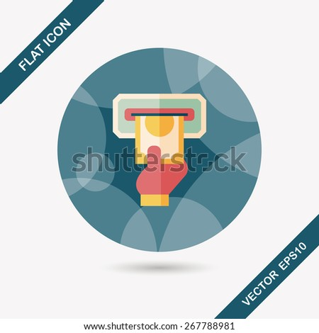 ATM flat icon with long shadow,eps10 - stock vector