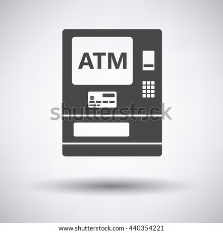 ATM icon on gray background, round shadow. Vector illustration. - stock vector