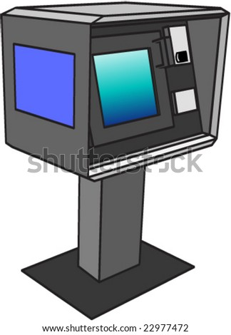 ATM in exact perspective view, with blank label and monitor to put your art - stock vector