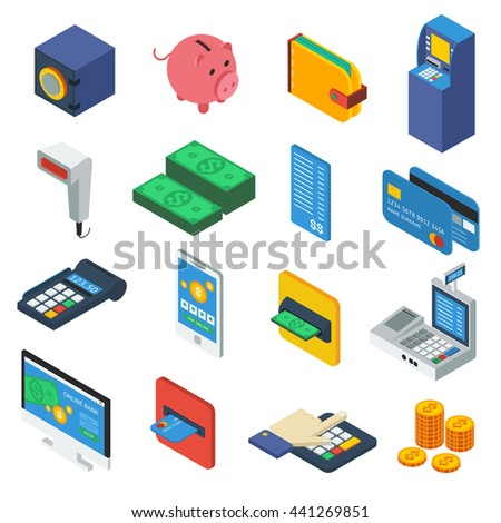 ATM isometric icons set with piggy wallet scanner banknote coin cards keypad safe computer isolated vector illustration - stock vector