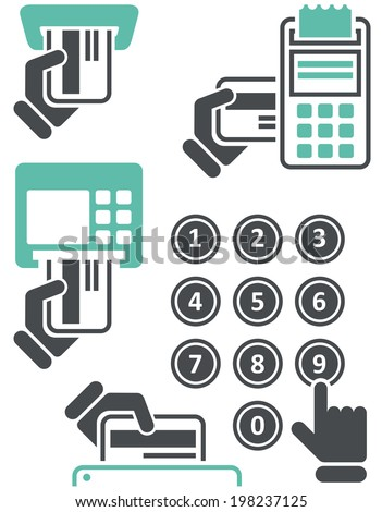 ATM keypad and POS-Terminal - simple icons of hand with credit card - stock vector