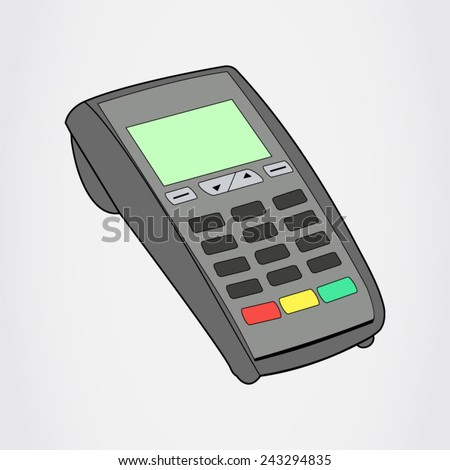 ATM keypad and Terminal - simple icons on a grey background - stock vector
