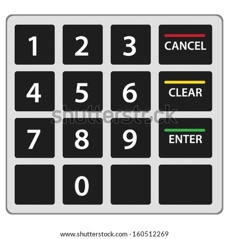 Atm keypad isolated on white. Vector version. - stock vector