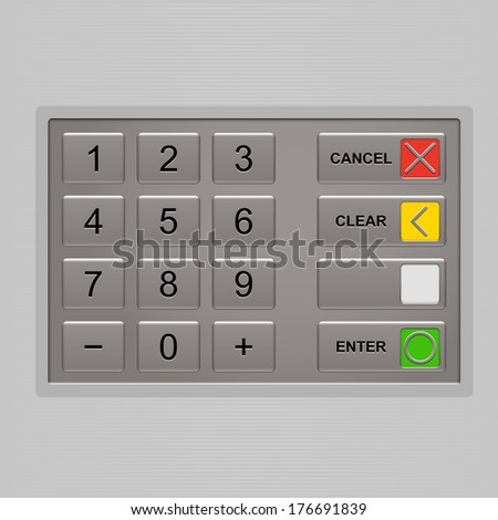 ATM keypad. Keyboard of automated teller machine. - stock vector