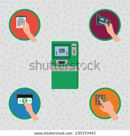 ATM machine ant payment credit card icon set. Vector, EPS 10 - stock vector
