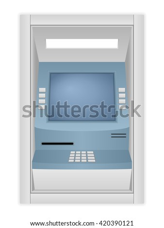ATM machine on a white background. - stock vector