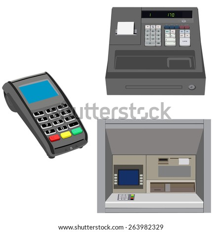 Atm, pos terminal and cash register vector set, payment icons, shopping icons - stock vector