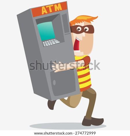 ATM robber - stock vector