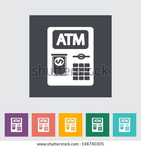 ATM. Single flat icon. Vector illustration. - stock vector