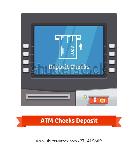 ATM teller machine with current operation icon on the screen. Bank check placed to a slot pictogram. Flat style vector illustration. - stock vector