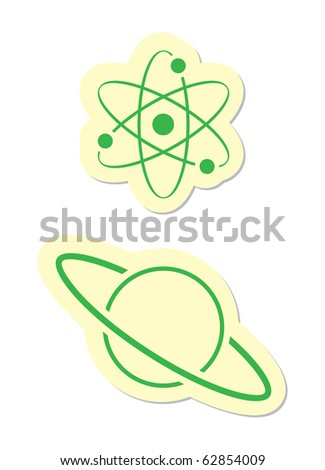 Atom and Planet Icons - stock vector