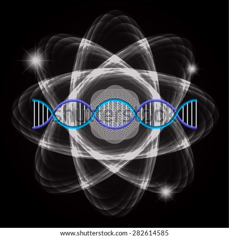 Atom black abstract nuclear structure science background. symbol vector illustration. blue DNA - stock vector