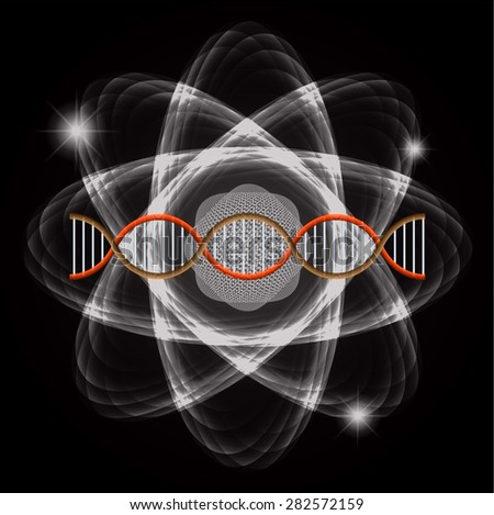 Atom black abstract nuclear structure science background. symbol vector illustration. brown orange DNA - stock vector