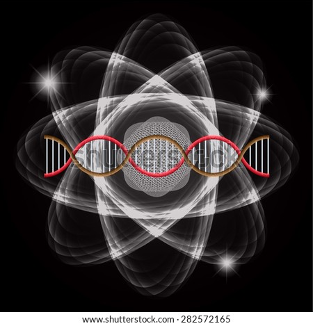 Atom black abstract nuclear structure science background. symbol vector illustration. red brown DNA - stock vector