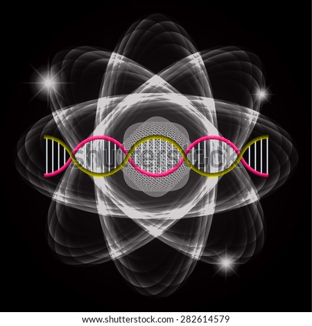 Atom black abstract nuclear structure science background. symbol vector illustration. yellow pink DNA - stock vector