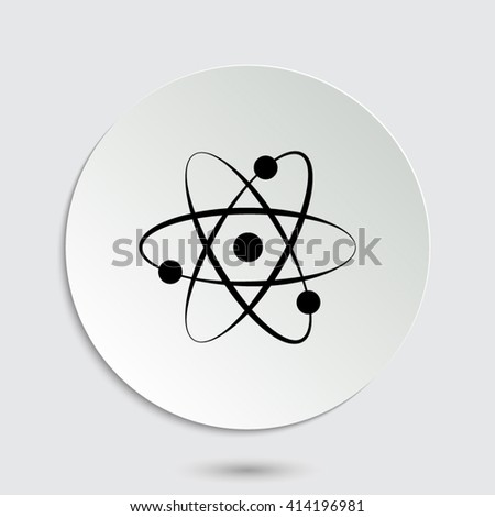 atom - black vector icon  with shadow