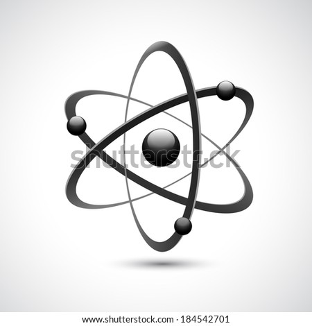 Atom 3d abstract physics science model symbol vector illustration - stock vector