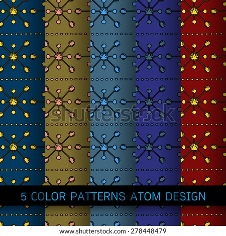 Atom floating and chrome molecule over background design 5 color - stock vector