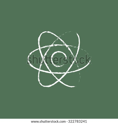 Atom hand drawn in chalk on a blackboard vector white icon isolated on a green background. - stock vector