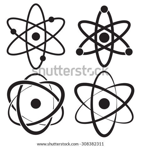 Atom icon in four variations - stock vector