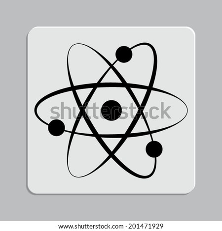 atom icon on a grey flat button
