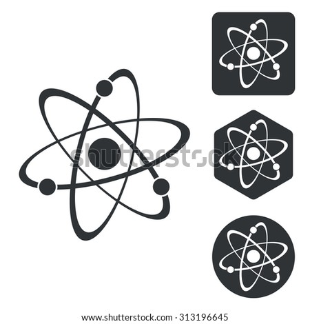 Atom icon set, monochrome, isolated on white - stock vector