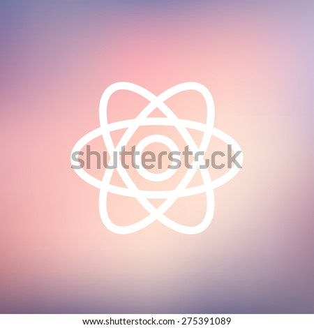 Atom icon thin line for web and mobile, modern minimalistic flat design. Vector white icon on gradient mesh background. - stock vector