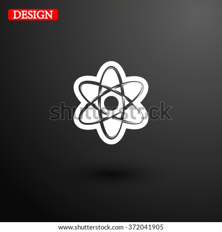 atom icon, vector illustration. Flat design style - stock vector