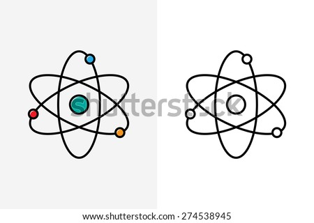 Atom line style icon and logo  - stock vector