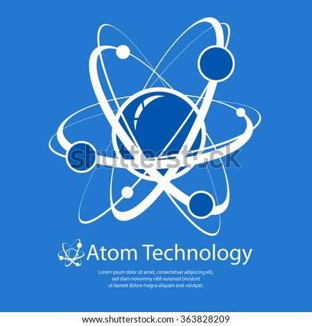 Atom model on blue & text, technology flat vector illustration - stock vector