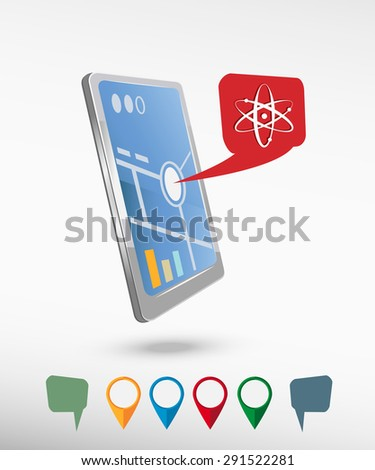 Atom molecule and perspective smartphone vector realistic. Set of bright map pointers for printing, website, presentation element and application mockup. - stock vector