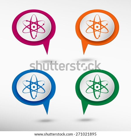 Atom molecule on colorful chat speech bubbles - stock vector