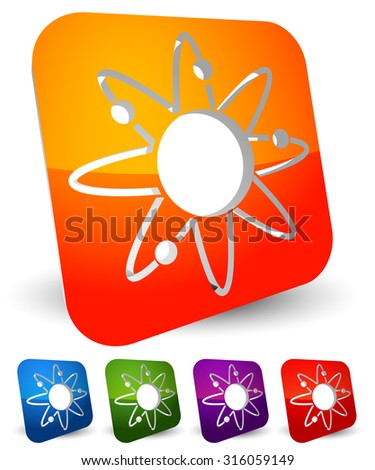 Atom, nucleus icon. Atom with orbiting electrons. - stock vector