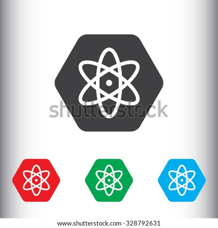 Atom, nucleus sign icon, vector illustration. Nucleus symbol. Flat icon. Flat design style for web and mobile. - stock vector