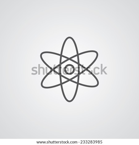 atom outline thin symbol, dark on white background, logo editable, creative template  - stock vector