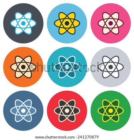 Atom sign icon. Atom part symbol. Colored round buttons. Flat design circle icons set. Vector - stock vector