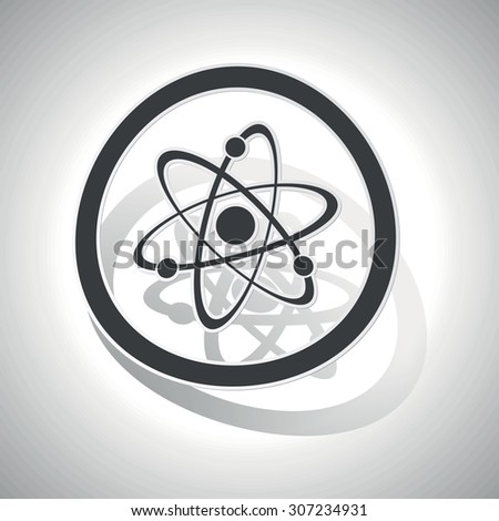Atom sign icon, curved, with outlining and shadow, on white gradient - stock vector