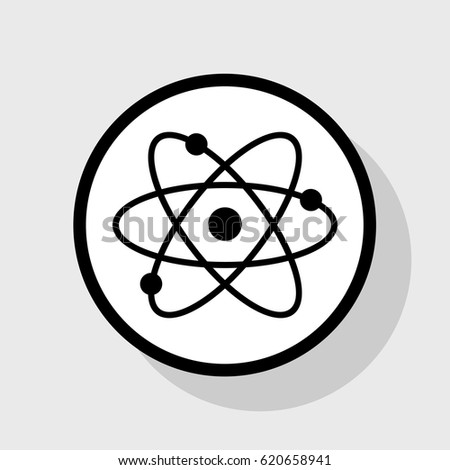 Atom sign illustration. Vector. Flat black icon in white circle with shadow at gray background.
